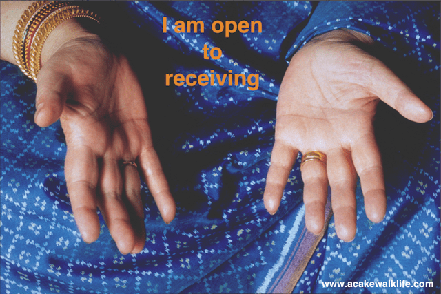 Open hands, palms up, open to receiving